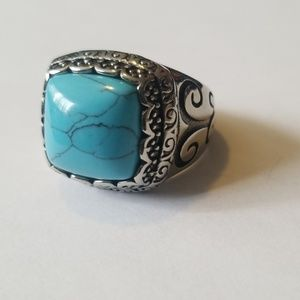 Heavy Stainless steel turquois ring.
